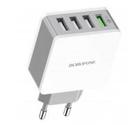 Borofone BA43A Bountiful four-port charger, 4USB (1USB QC3.0), 18w max, white