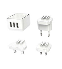 Borofone BA51 Easy removable pin charger, 3USB, 2.4A max, white