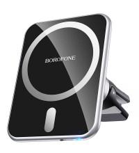 Borofone BH43 Xperience magnetic wireless charging car holder, в решетку, Qi 15w, магнитный, black