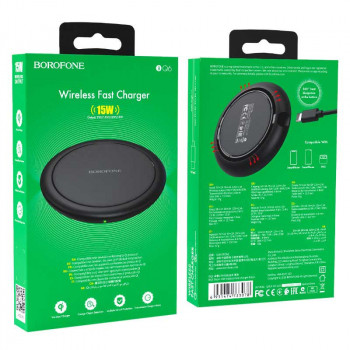 Borofone BQ6 Boon Wireless Charger, QI 15w, black
