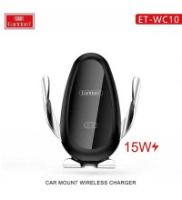Earldom WC10 3in1 Car Mount 15W Wireless Charger, автозажим, на решетку и стекло, black