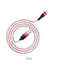 Hoco U85 Charming night cable, microUSB, 1m, 2.4A, светящийся, розовый