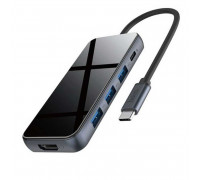 Hoco HB15 Easy Show 5-in-1, Type-C to 3xUSB3.0+HDMI+PD 2.0 67w, Black