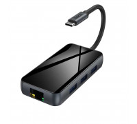 Hoco HB16 Mini Size 6-in-1, Type-C to 3xUSB3.0+HDMI+LAN+PD67w, Black