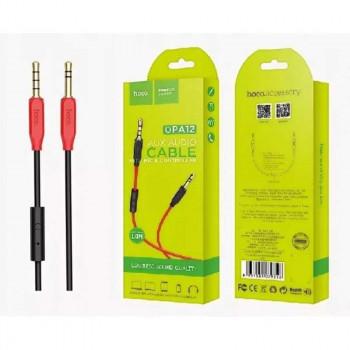 Hoco UPA12 AUX audio cable (with mic), 1m (UPA12) черный с красными наконечниками