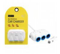 Hoco C1 Multipurpose Car Charger разветвитель на 3 розетки и 2 USB 3A на кабеле 1м