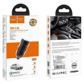 Hoco Z32A Flash Power Car Charger, 1xUSB QC3.0 VOOK, 4A, 18w, black