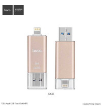 Hoco UD2 32 GB MFI Flash Drive with USB OTG for iPhone, ipad and computers Gold