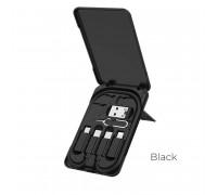 Hoco U86 Treasure Charging Data Cable, кабель Type-C - Type-C 0.28m + набор переходников, black