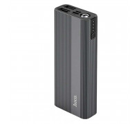 Hoco J54 10000mah, 2xUSB 2A, фонарик, microUSB/Type-C input, металл (J54-10000) black
