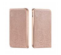 Hoco B14 8000mah Leather Surface Power Bank Wood Grain (B14-8000) gold