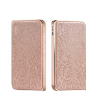 Hoco B14 8000mah Leather Surface Power Bank Wood Grain (B14-8000) gold