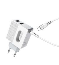 Hoco C75 Imperious, 2xUSB 2.4A + встроенный кабель Lightning, с подсветкой, white