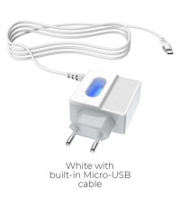 Hoco C75 Imperious, 2xUSB 2.4A + встроенный кабель microUSB, с подсветкой, white