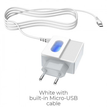 Сетевое зарядное устройство Hoco C75 Imperious wall charger with built-in Micro-USB wire
