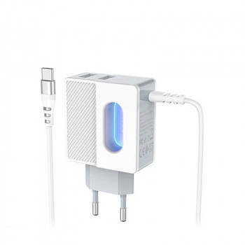Сетевое зарядное устройство Hoco C75 Imperious wall charger with built-in Type-C wire