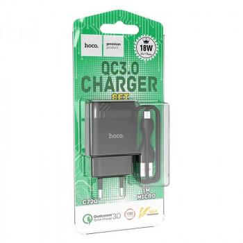 Hoco C72Q Glorious 1USB QC3.0 + micro USB 1m, black