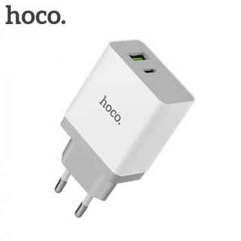 Сетевое зарядное устройство Hoco C24A QC3.0 BELE Two Ports Charger White