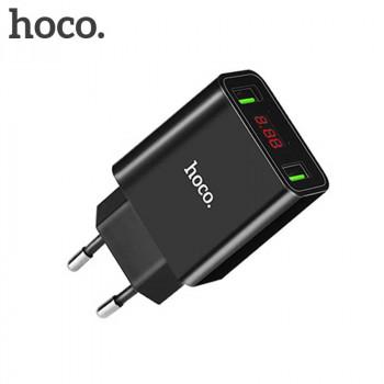 Сетевое зарядное устройство Hoco C25A LED Cool Double Port Charger Black