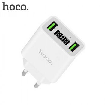 Сетевое зарядное устройство Hoco C25A LED Cool Double Port Charger White