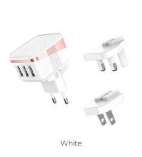 Hoco C83 Detachable pin 3in1 charger (US/EU/UK) 3USB 2,4A, white
