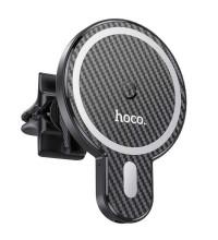 Hoco CA85 Ultra Fast Magnetic wireless charging car holder, в решетку, Qi 15w, магнитный, black
