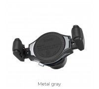 Hoco S1 In-car wireless charging phone holder, на решетку, Qi 10w, gray