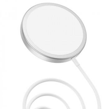 Hoco CW30 Original series magnetic wireless fast charger, Qi 15w, silver