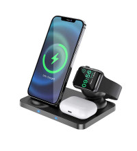 Hoco CW33 Ultra-Charge 3-in-1 Vertical Wireless Fast Charger, QI 15w, black