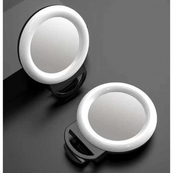 Кольцевая светодиодная лампа Selfi Ring Light LED 11.5 см с креплением на телефон и зеркалом