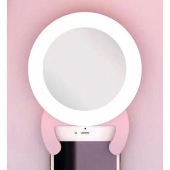 Кольцевая светодиодная LED лампа 9.5 см с креплением на телефон и зеркалом