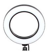 Кольцевая светодиодная лампа 16 см, с держателем на трубу штатива черная