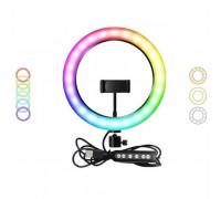Цветная кольцевая светодиодная лампа 33 см MJ33 RGB LED Soft Ring Soft Light, с держателем, black