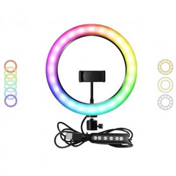 Кольцевая светодиодная лампа 26 см MJ26 RGB LED Soft Ring Soft Light, с держателем, black
