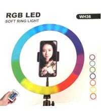 Кольцевая светодиодная лампа 36 см WH36 RGB LED Soft Ring Soft Light, с дистанционным пультом, black