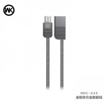 WK Lion, microUSB, 1m,  металлический (WDC-026) black
