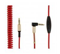 Кабель AUX, витой, с микрофоном, угловой, с пружинкой, красный с золотом