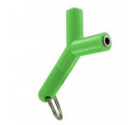 Разветвитель AUX, с брелком, зеленый