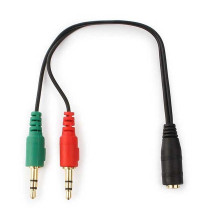 Кабель аудио Cablexpert CCA-418, 2xJack 3.5mm (M) наушники + микрофон to Jack 3.5m 4pin (F), 20см