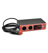 KingNeed С-20 разветвитель прикуривателя, 2+2USB, 3.1A+ LCD (уровень заряда)