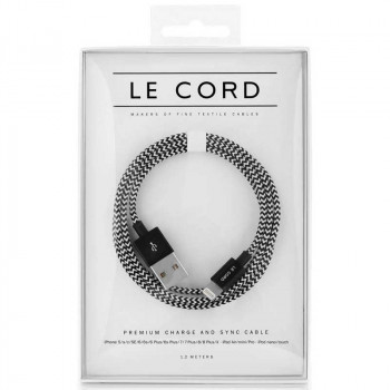 Le Cord Lightning  Cable, MFI, 1.2m, black with white