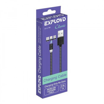 Exployd 3-in-1 (L+M+C), 1m, 2.1A, магнитный, в оплетке, без передачи данных (EX-K-788) black