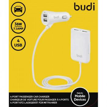 BUDI 7.2А 36W на 2 USB + 2USB на кабеле (M8J068-WHT)