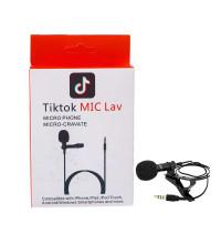Микрофон петличный Tiktok MIC Lav, 1.5м, черный