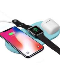 AirPower Wireless Charger, беспроводная зарядка 3-в-1 Phone+iPod+iWatch 1-5s, голубой