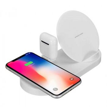 Charging station W7, беспроводная зарядка 5-в-1 USB QC 2.0+Phone+iPod+iWatch, белый