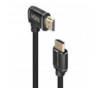 Promate ProLink4K1-500 HDMI, 5m, круглый, угловой, в оплетке, черный