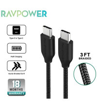 RawPower Kevlar Braided Type-C to Type-C Cable, 0.9m, 2.4A (RP-CB018) black