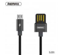 Remax Serpent Series MicroUSB, 1m, 2.1A, металлический (RC-080m) black