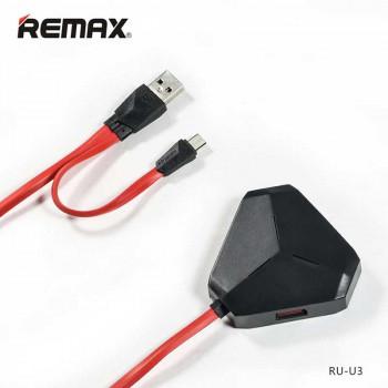Remax Aliens OTG HUB 3ports - microUSB, 0.6m (RU-U3) black red